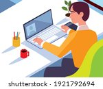 man working with laptop coffee... | Shutterstock .eps vector #1921792694