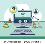 video conference people... | Shutterstock .eps vector #1921794557
