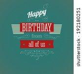 vintage birthday card. editable ... | Shutterstock .eps vector #192180251