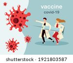 woman and man doctors holds big ... | Shutterstock .eps vector #1921803587