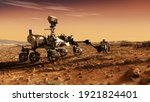 Small photo of Mars Rover Perseverance exploring the red planet. Mission to explore the red planet. search for traces of life. Elements of image furnished by NASA