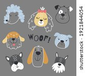 Vector Set Of Cute Dog Face In...