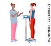weight check. the nurse weighs... | Shutterstock .eps vector #1921856801