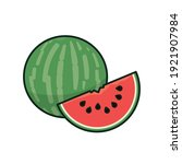 whole watermelon and piece... | Shutterstock .eps vector #1921907984