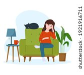 tired pregnant woman is sitting ...   Shutterstock .eps vector #1921916711