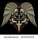two faced skull with wings and... | Shutterstock .eps vector #192193319
