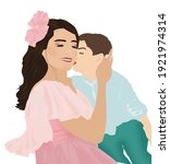 A Boy Kissing His Mother  A...
