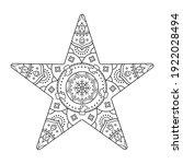 coloring book. star mandala.... | Shutterstock .eps vector #1922028494