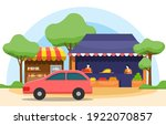 roadside fruit vegetable store... | Shutterstock .eps vector #1922070857