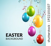 easter background with eggs and ... | Shutterstock .eps vector #1922101037