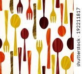 seamless pattern with flatware. ... | Shutterstock .eps vector #192211817