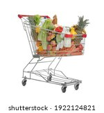 Shopping Cart With Groceries On ...