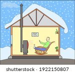 person is warmed by the heat of ... | Shutterstock .eps vector #1922150807