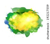 Vector watercolor splash in Brazil flag concept color. Can be used in cover design, website background or advertising.