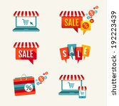 sale tags  laptop with awning... | Shutterstock .eps vector #192223439