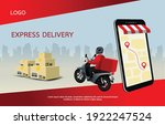 fast delivery man with...   Shutterstock .eps vector #1922247524