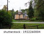 Yellow Wooden Church In Karelia