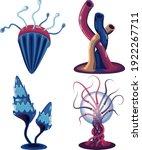 unusual fantasy mushrooms set.... | Shutterstock .eps vector #1922267711
