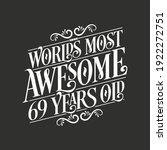 69 Years Birthday Typography...