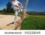 Golf Shot From Sand Bunker...