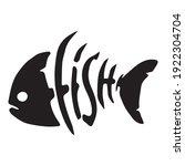 Black Fish With Bone Vector...