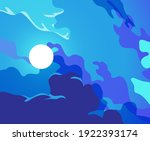 night sky with a full moon... | Shutterstock .eps vector #1922393174