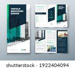 tri fold green brochure design... | Shutterstock .eps vector #1922404094