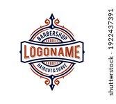 barbershop badge logo design...   Shutterstock .eps vector #1922437391