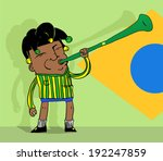 brazilian soccer fan blowing a... | Shutterstock .eps vector #192247859