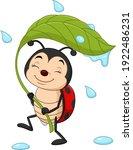cartoon ladybug holding a green ...   Shutterstock .eps vector #1922486231