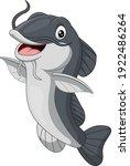 Cartoon happy catfish on white background