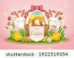3d easter egg hunt background.... | Shutterstock .eps vector #1922519354