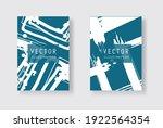 white ink brush stroke on blue... | Shutterstock .eps vector #1922564354