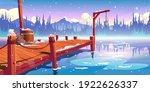 wooden pier on winter lake ... | Shutterstock .eps vector #1922626337
