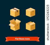 flat boxes icons set. eps10...