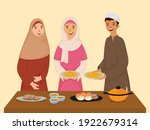 muslim young boy and girl... | Shutterstock .eps vector #1922679314
