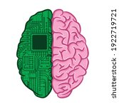 human brain with two halves.... | Shutterstock .eps vector #1922719721