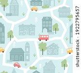 cute city houses  childish... | Shutterstock .eps vector #1922795657