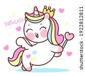 cute unicorn vector pegasus... | Shutterstock .eps vector #1922812811
