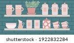 kitchen interior. wooden... | Shutterstock .eps vector #1922832284