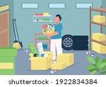 man cleaning a garage  flat... | Shutterstock .eps vector #1922834384