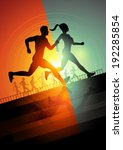 group of runners  men and women ... | Shutterstock .eps vector #192285854