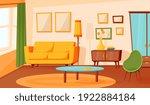 cartoon living room interior.... | Shutterstock .eps vector #1922884184