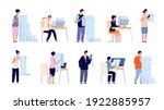 people with documents. cartoon... | Shutterstock .eps vector #1922885957