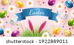 easter card with eggs  candies  ... | Shutterstock .eps vector #1922889011