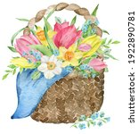Watercolor Easter Basket With...