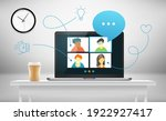 conference call with business... | Shutterstock .eps vector #1922927417