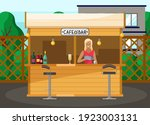 drinking coffee and eating in... | Shutterstock .eps vector #1923003131