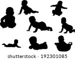 the se of 8 baby silhouette | Shutterstock .eps vector #192301085