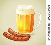 cool glass mug of cold golden... | Shutterstock .eps vector #192305405
